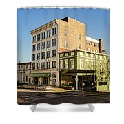 The Green Building On The Corner Shower Curtain