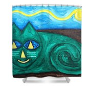 The Green Cat Shower Curtain