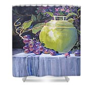 The Green Pot And Grapes Shower Curtain