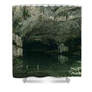 The Grotto Of The Loue Shower Curtain by Gustave Courbet