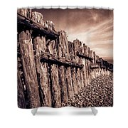 The Groynes At Porlock Weir In Sepia Tones. Shower Curtain