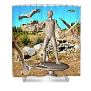 The Guardian Of The Ruins 1 Shower Curtain