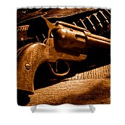 The Gun That Won The West - Sepia Shower Curtain
