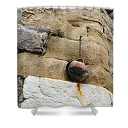 The Hanging Jar - Rough Weathered Stones Rust And Ceramics - A Vertical View Shower Curtain