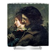 The Happy Lovers Shower Curtain by Gustave Courbet