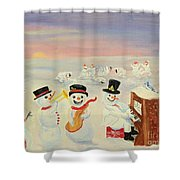 The Happy Snowman Band Shower Curtain