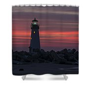The Harbor Light At Dawn Shower Curtain