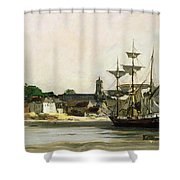 The Harbour At Honfleur Shower Curtain