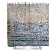 The Harbour At Portrieux Shower Curtain by Paul Signac