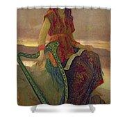 The Harpist Shower Curtain by Antoine Auguste Ernest Herbert