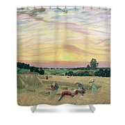 The Harvest Shower Curtain by Boris Mikhailovich Kustodiev