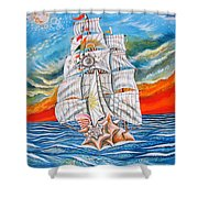 The Harvest Conchquest Shower Curtain