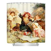 The Haymakers Shower Curtain by Frederick Morgan