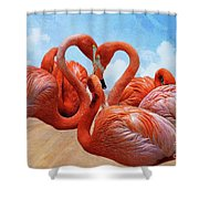 The Heart Of The Flamingos Shower Curtain