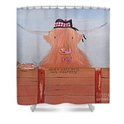 The Heiland Coo At Christmas Shower Curtain