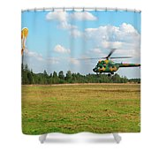 The Helicopter Over A Green Airfield. Shower Curtain