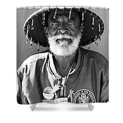 The Hero In Black And White Shower Curtain