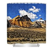 The High Andes Painted Version Shower Curtain