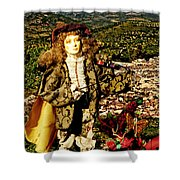The Hills Are Alive In Santorini Shower Curtain