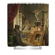 The History Painter Shower Curtain