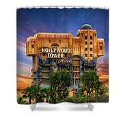 The Hollywood Tower Hotel Disneyland Shower Curtain