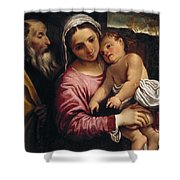 The Holy Family , Annibale Carracci Shower Curtain