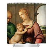 The Holy Family Shower Curtain by Raphael