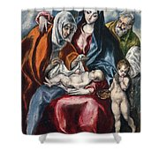 The Holy Family With Saint Anne And The Infant John The Baptist Shower Curtain