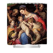 The Holy Family With St Catherine Of Alexandria, St Margaret Of Antioch And St Francis Of Assisi  Shower Curtain