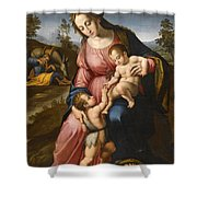 The Holy Family With The Infant Saint John The Baptist Shower Curtain