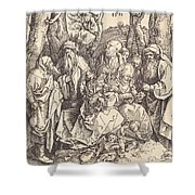 The Holy Family With Two Music-making Angels Shower Curtain