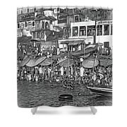 The Holy Ganges - Paint Bw Shower Curtain