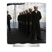 The Honor Guard Stands At Parade Rest Shower Curtain