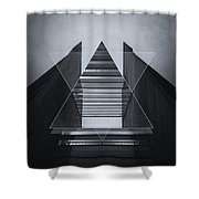 The Hotel Experimental Futuristic Architecture Photo Art In Modern Black And White Shower Curtain