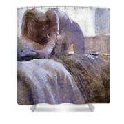 The Hotel Room By Mary Bassett Shower Curtain