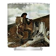 The Hunter And His Dogs Shower Curtain by Winslow Homer