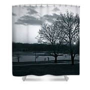 The Ice Skaters...kirby Park Pond Kingston Pa. Shower Curtain