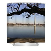 The Iced-over Tidal Basin In Mid-winter Shower Curtain