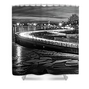The Icy Charles River At Night Boston Ma Cambridge Black And White Shower Curtain