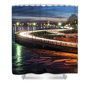The Icy Charles River At Night Boston Ma Cambridge Shower Curtain