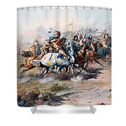 The Indian Encirclement Of General Custer At The Battle Of The Little Big Horn Shower Curtain