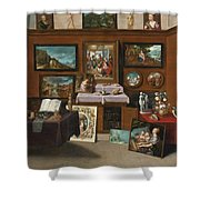 The Interior Of A Picture Gallery With Connoisseurs Admiring Paintings Shower Curtain