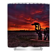The Iron Horse Red Sky Sunset Shower Curtain