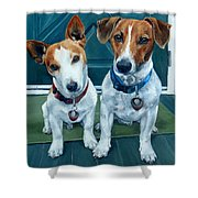 The Jack Russel Duo Shower Curtain