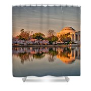 The Jefferson Memorial And Cherry Trees In Bloom Shower Curtain