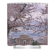 The Jefferson Memorial Attracts Large Crowds At The Cherry Blossom Festival Shower Curtain