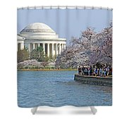 The Jefferson Memorial With Cherry Blossoms And A Lot Of People Shower Curtain