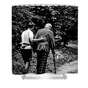 The Journey Bw Shower Curtain