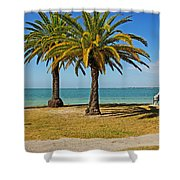 The Joy Of Sea And Palms Shower Curtain