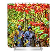 The Joys Of Autumn Camping Shower Curtain